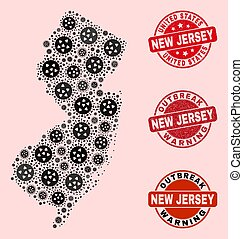Outbreak Composition of Mosaic New Jersey State Map and Distress Seals