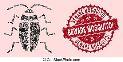 Outbreak Mosaic Cucaracha Icon with Textured Beware Mosquito! Stamp