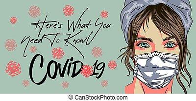 outbreaks., virus, corona, concepto, cara, 2019-ncov, places...