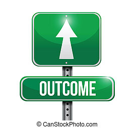 outcome road sign illustration design over a white ...