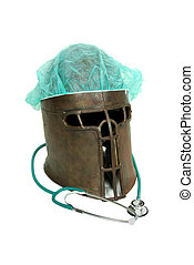 Outdated and antique equipment, medical items, medieval helm