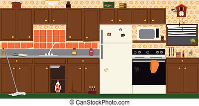 Outdated kitchen interior - Interior of an old dirty...