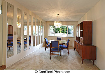 Outdated sixties diningroom - Dining room with blue chairs