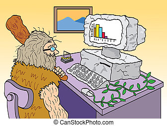 A caveman using an old outdated computer.