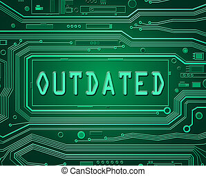 Abstract style illustration depicting printed circuit board components with an outdated concept.