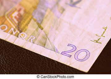 Outdated twenty Swedish crowns on a dark surface close-up. Money background retro style toned