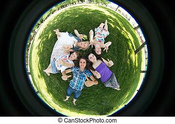 outdoor., グループ, 学生, ベンチ