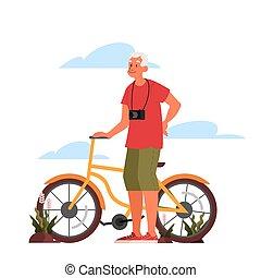 outdoor., 年配, スタイル, 人々。, 自転車, 活動的, 老人, 生活, 彼の