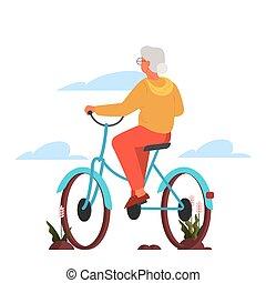outdoor., 年配, スタイル, 自転車, 活動的, 彼女, 古い 女性, 生活, 乗馬