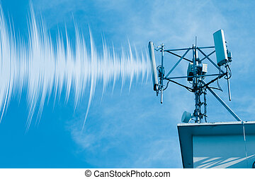 Outdoor 4G wireless telephone radio cell site with wave data effect