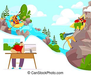 Outdoor activity and extreme sports, people cartoon characters rafting and climbing, vector illustration
