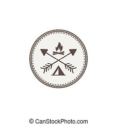 Outdoor activity patch. Adventure icon with bonfire and tent. Stock vector illustration isolated on white background
