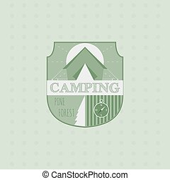 Outdoor adventure badge and forest logo emblem. Camping icon.