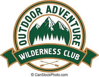 Outdoor adventure badge with mountain landscape