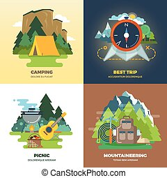 Outdoor adventure camp flat background concept set