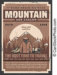 Outdoor adventure equipments, mountain and forest