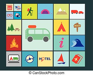 OUTDOOR ADVENTURE ICONS FLAT COLOUR BLOCKS AND THIN LINES