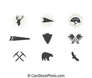 Outdoor adventure silhouette icons set. Climb and lumberjack shapes collection. Simple black pictograms bundle. Use for creating logo, labels and other hiking, surf designs. Vector isolated on white.