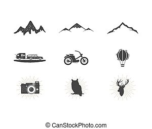 Outdoor adventure silhouette icons set. Surfing and camping...