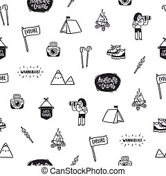 Outdoor adventures doodle pattern