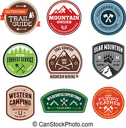 Outdoor badges - Set of outdoor adventure and expedition...