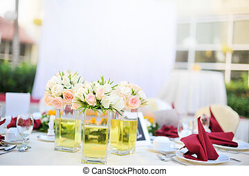 Outdoor banquet wedding table