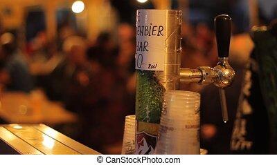 Outdoor Beer Tap - Nightime outdoor party with fresh beer on...