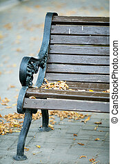 outdoor bench with yellow leaves close-up in autumn