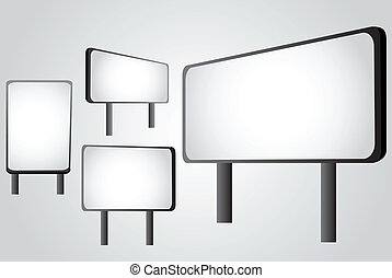 Outdoor billboard set, vector illustration