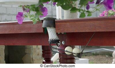 Outdoor billiard table area at back garden of a house