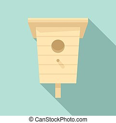 Outdoor bird house icon, flat style