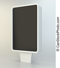 Outdoor blank advertising stand for street. 3d rendering
