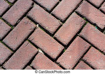 Outdoor brick pavers laid in herringbone pattern