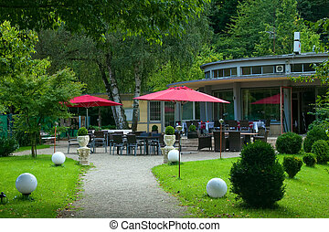 Outdoor cafe in the park. Europe, Germany, Baden-Baden.