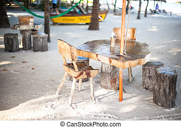 Outdoor cafe on the beach i