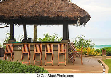 Outdoor cafe on the beach