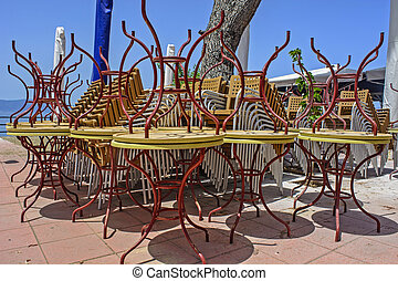 Outdoor cafe tables