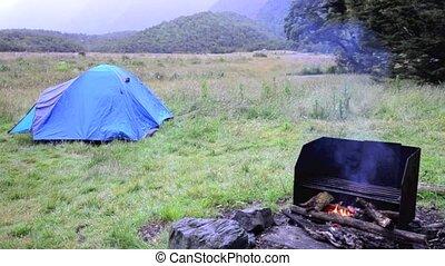Outdoor campfire