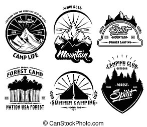 Outdoor Camping Labels Set