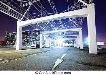 Outdoor car parking lot at night