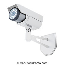 Outdoor CCTV Camera isolated on white background. 3d rendering