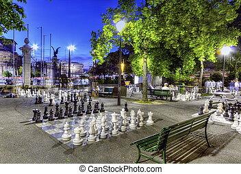 Outdoor chessgame, Bastions park, Geneva, Switzerland, HDR