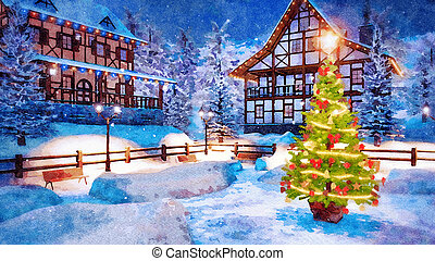 Outdoor Christmas tree at winter night watercolor