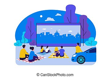 Outdoor cinema theater big screen. Friends and dating ...