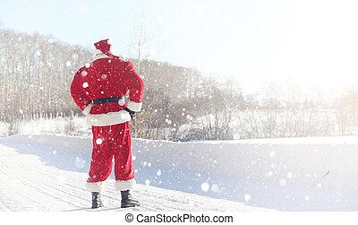 outdoor., claus, do, regali, viene, santa, rosso