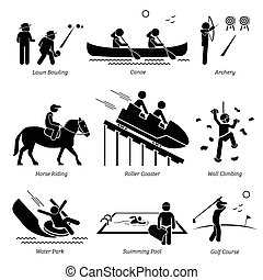 Stick figure depict outdoor games lawn bowling, canoe, archery, horse riding, roller coaster, wall climbing, water park, swimming pool, and golf course.