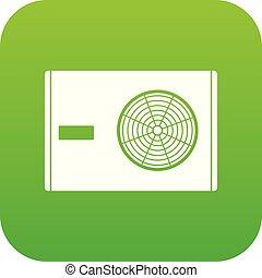 Outdoor compressor of air conditioner icon digital green