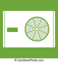 Outdoor compressor of air conditioner icon green