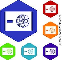 Outdoor compressor of air conditioner icons set