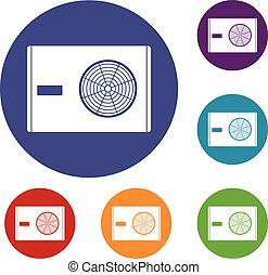 Outdoor compressor of air conditioner icons set